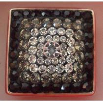 Anillo De Plata 925 Y Corconitas Circones Negro Gris Cristal