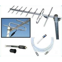 Antena Tv Digital Hd Publica Tdt Tda Uhf 8e + 10 Mt Cable