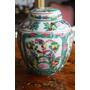 Jarron De Porcelana China Sellado Y Decorado Con Flores&aves