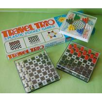 1970 Tres Mini Juegos De Viaje Pocket Games Caja Como Nuevo!