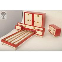 Juego Dormitorio Madera P/ Muñecas Muebles Antiguo Juguete