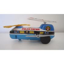 Vintage Helicoptero Policia Litogr A Cuerda Epoca Hijitus