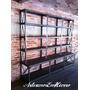 Biblioteca Retro Industrial Hierro Con Madera Y Remaches