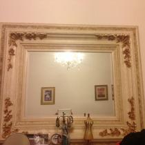 Hermoso Cuadro Antiguo Con Espejo Biselado