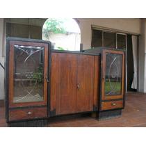 Antiguo Aparador Con Vidrios Tallados Y Espejo A Restaurar