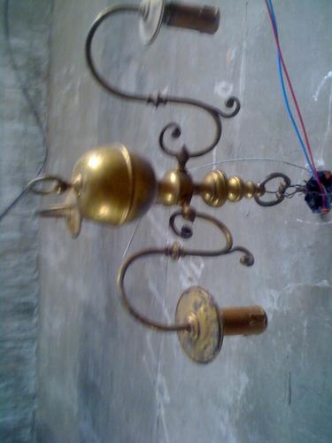 Araña Antigua De Bronce 3 Luces
