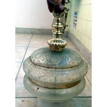 Araña Antigua Con Vidrio Esmerilado (rosario)