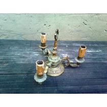 Araña/candelabro De Bronce Macizo 3 Luces