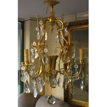 Araña Francesa De Bronce Y Caireles Cristal 5 Luces (755)