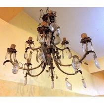 Araña Antigua Francesa Bronce Y Caireles 9 Luces C Detalles