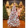 Árbol De Navidad Premium 1,80 Blanco Con Kit Rojo Y Plata