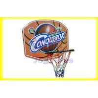 Aro De Basket De Metal Con Red Y Tablero De Madera