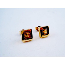 Aros De Oro Amarillo Con Piedra Semipreciosa