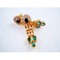 Aros De Oro Amarillo 8 Esmeralda Y 14 Brillantes