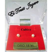 Aritos Abridores Perla Cultivo Oro 18k. 3mm Garantia Escrita