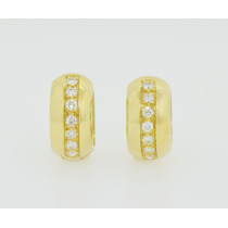 Aros De Oro Amarillo 18k Y Brillantes Dlisjoyeria Cod 023