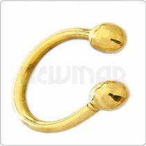 Piercing De Oro Amarillo 18 Kts Ceja Labio - Va432 Newmar