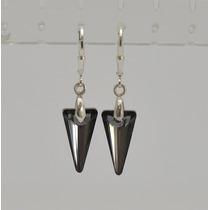 Aros De Plata 925 Y Cristales Swarovski Spike Pendant.