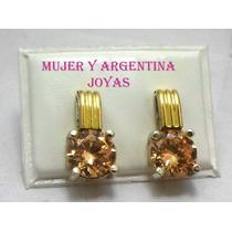 Aros De Plata Con Oro Y Piedra Cubic Sistema A Rosca