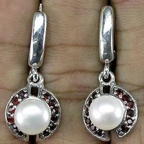 +57-¡ Solo Super Divas! Aros De Plata 925 Perlas Y Granates.