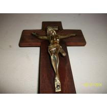 Arte Sacro. Crucifijo De Madera Y Bronce (c/metales)