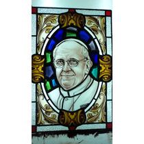 Papa Francisco Vitreaux Original Pintado A Fuego 0,41 X0,61