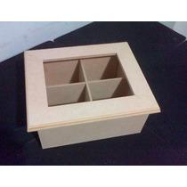 Cajas De Te Vidrio X 4 Div. Fibrofacil Artesania Decorar