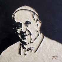 Papa Francisco Cuadro De Madera Tallado Para Colgar