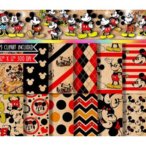 Kit Digital Imprimible Scrapbook, Decoupage, Mickey Vintage