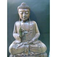 Buda Tallado De Madera 1 M De Altura