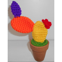 Cactus Crochet Amigurumi Maceta Barro Decoración