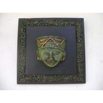Cuadro Alto Relieve Rostro Azteca Sobre Tabla Tipo Malaquita
