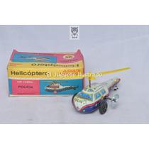 Helicoptero Policia A Cuerda Lata Mib Juguete Retro Ind Arg