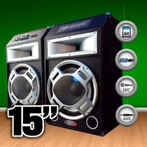 Par De Bafle Potenciado Usb-sd-mic-guitar- Fm Karaoke 3800w