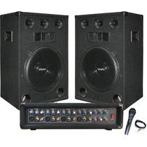 Combo Consola 9 Canales Potencia 300w 2 Bafles 12 - La Roca
