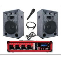 Combo Cabezal Amplificador Usb Bluetooth + 2 Bafles De 15