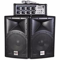 Amplificador Reck Q8 Bt 2 Bafles 8 Canales 2 Mics Karaoke