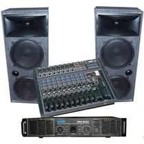 Sonido Completo Bafles Columnas Ampli 600w Consola 12 Ch Usb