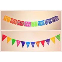Banderines Mexicanos En Tela * Blancos Y Multicolores