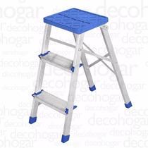 Escalera Aluminio Plegable Banqueta 0,62mts 3 Escalones