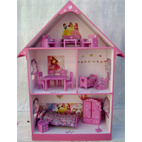 Casita Muñecas Barbie, Pintada, Decorada Con Muebles