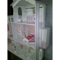 Casita De Muñecas Barbie *promo*mas Muebles Comiditas Y Luz!