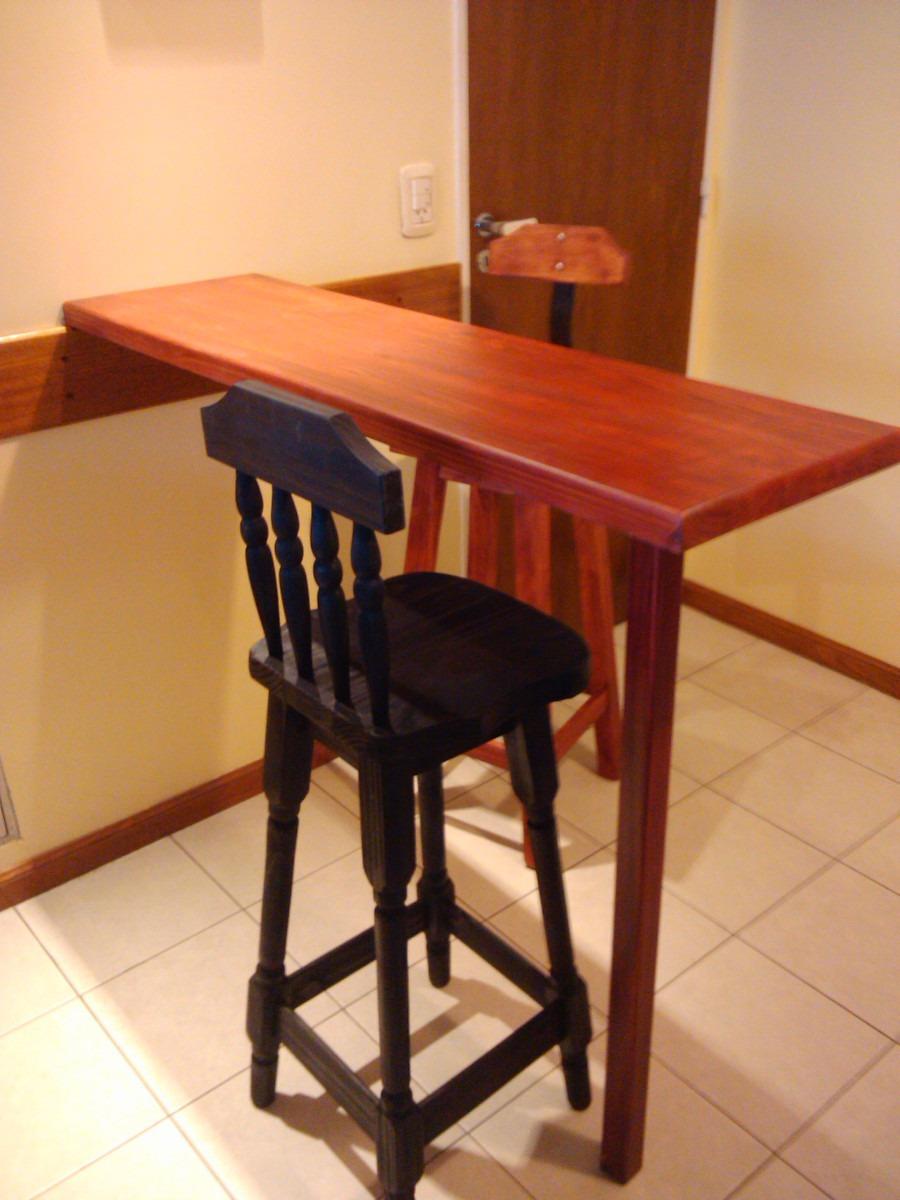 Barra con pata mesada de madera para cocina desayunador - Como hacer cocinita de madera ...