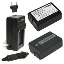 Kit 2 Baterias Np-fw50 [sony] + Cargador 220v/12v (wasabi)