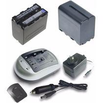 Dos Baterias T/ Sony Np F970 + Cargador + Fuente + Adaptador