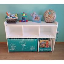 Mueble Organizador Con Baulesin Infantiles, Cubos Con Ruedas