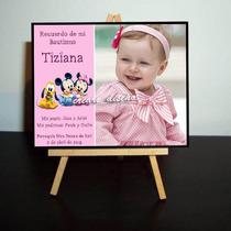 Divino Souvenir Mini Atril Con Foto - Bautismo 1er Año Nena