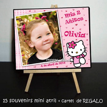 Cumpleaños Hello Kitty :15 Mini Atril + Cartel Regalo Cumple