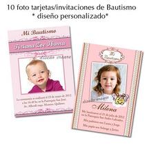 Hermosas 10 Foto Tarjetas Invitacion Bautismo 1er Añito Nena