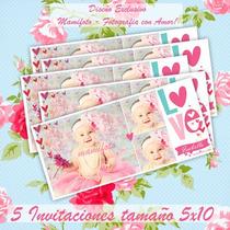 Mamifoto Invitacion Shabby Chic, 5 Tarjetas 5x10 A $25 Pesos